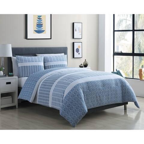 Porch & Den Stonebriar Blue and White Stripe Cotton Duvet Cover Set