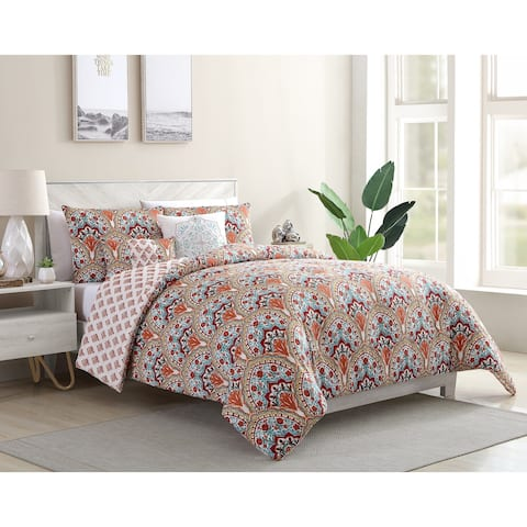 VCNY Home Paiten Reversible Damask Duvet Cover Set