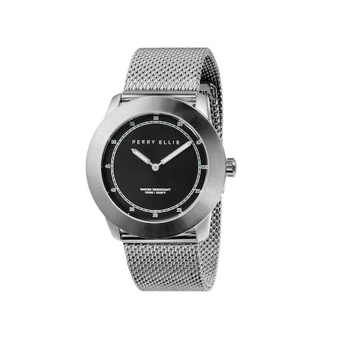 Perry Ellis Men's 11002-04 New Slim Line Black Dial Stainless Steel Case with Stainless Steel Band Quartz Watch