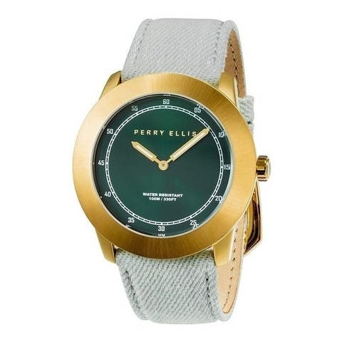 Perry Ellis Men's 11003-05 New Slim Line Green Dial Stainless Steel Case with Nylon Band Quartz Watch