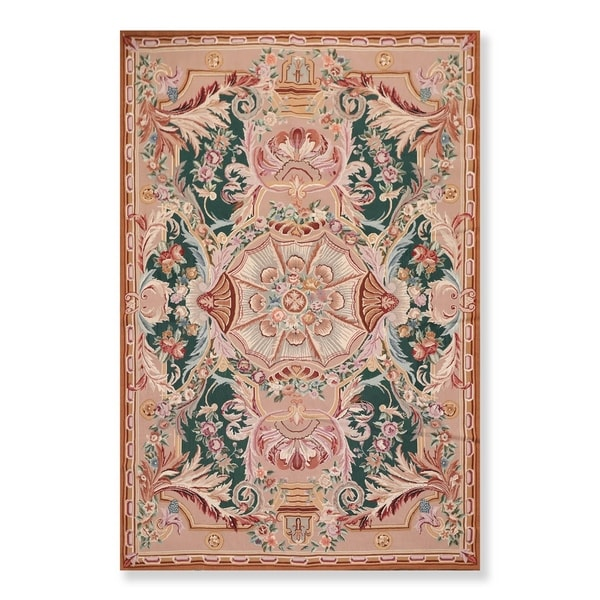 "Hand Woven French Aubusson Wool Needlepoint Area Rug (6'x9') - 6'5"" x 9'8"""