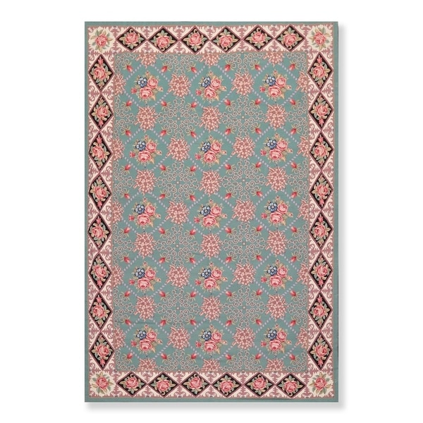 """Hand Woven French Aubusson Wool Needlepoint Area Rug (5'9""""x8'9"""") - 6'5"""" x 9'8"""""""
