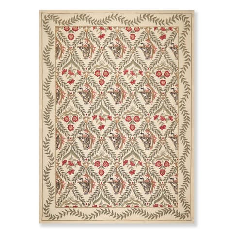 """Hand Hooked Wool Pictorial Novelty Area Rug (8'x11') - 8' x 11'2"""""""