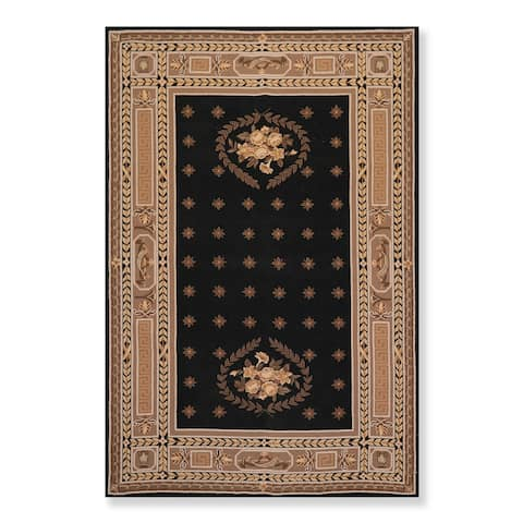 """Hand Hooked Traditional French Aubusson Wool Oriental Area Rug (5'5""""x8'5"""") - 5'6"""" x 8'6"""""""