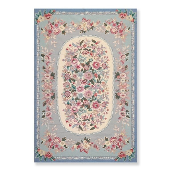 "Hand Woven French Aubusson Needlepoint Area Rug Wool (5'6""x8'6"") - 5'6"" x 8'6"""