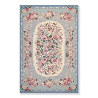 """Hand Woven French Aubusson Needlepoint Area Rug Wool (5'6""""x8'6"""") - 5'6"""" x 8'6"""""""