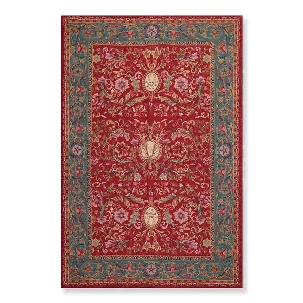 """Traditional Wool Hand Woven French Aubusson Needlepoint Area Rug (5'9""""x8'9"""") - 6'5"""" x 9'8"""""""