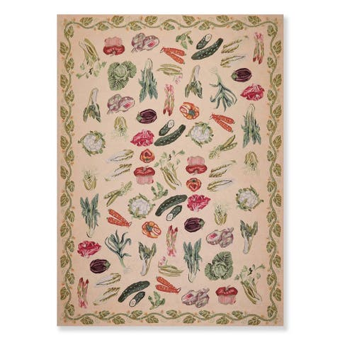 """French Country Wool Hand Hooked Oriental Area Rug (8'x11') - 8' x 11'2"""""""