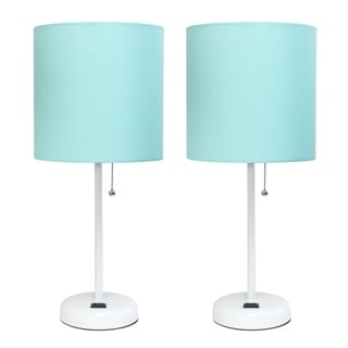 Link to LimeLights Stick Lamp with Charging Outlet and Fabric Shade Two Pack Set Similar Items in Table Lamps