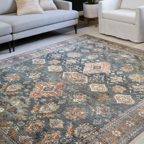 Alexander Home Leanne Traditional Distressed Printed Area Rug. Opens flyout.