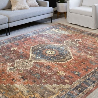 Link to Alexander Home Leanne Traditional Distressed Printed Area Rug Similar Items in Farmhouse Rugs