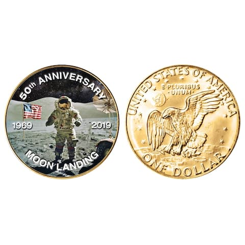"""Moon Landing Eisenhower Colorized Dollar Gold Layered Coin - 3.19"""" x 2.63"""""""