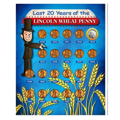 """Last 20 Years of the Lincoln Wheat Penny Beginner Coin Set - 10.75"""" x 8.75"""""""
