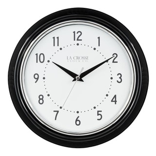 La Crosse Clock 404-3624B 9.5 Inch Retro Diner Black Quartz Wall Clock