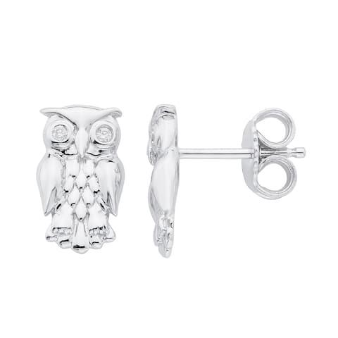 Little Diva Diamonds Sterling Silver Owl Children's Earrings