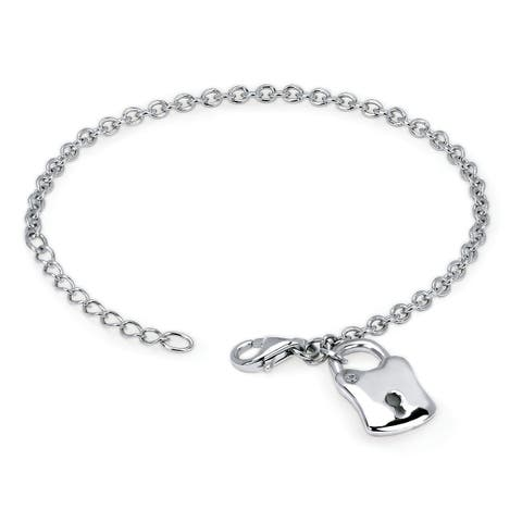 "Sterling Silver Diamond Locket 7.5"" Bracelet with Lobster Claw clasp"