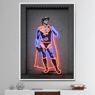 Designart 'David Michelangelo Superman' Modern & Contemporary Framed Canvas Artwork