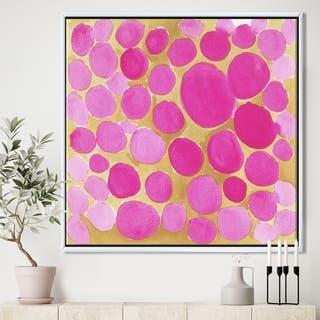 Designart 'Pink Pebbles' Mid-Century Modern Framed Canvas Art Print