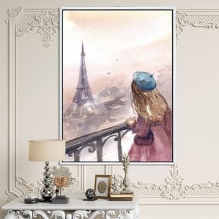 Designart 'Young Paris Girl Watching Eiffel Tower' Traditional Framed Canvas Wall Art