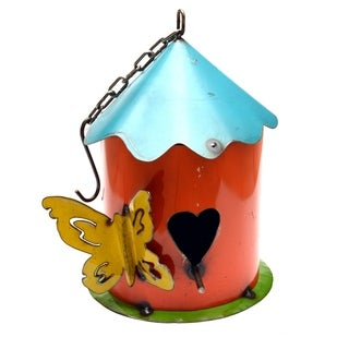 Turquoise & Green Hanging Heart Birdhouse