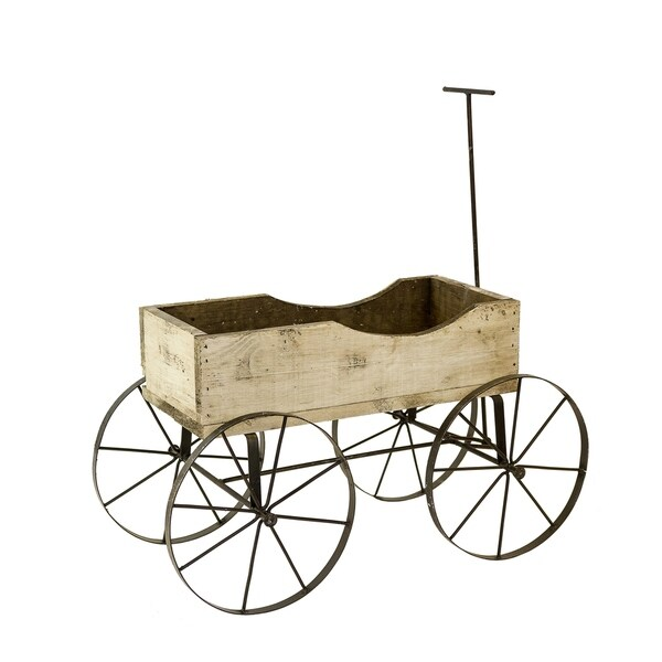 Wood Wagon 4 Wheels White