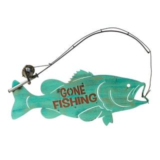 Go Fishing Fish W/Rod Sign - N/A