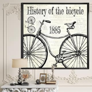 Designart 'History Of The Bicycle-C' Traditional Premium Framed Canvas Wall Art