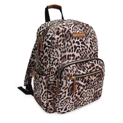 ADRIENNE VITTADINI Brown Leopard Print Vintage Backpack Lightweight Nylon