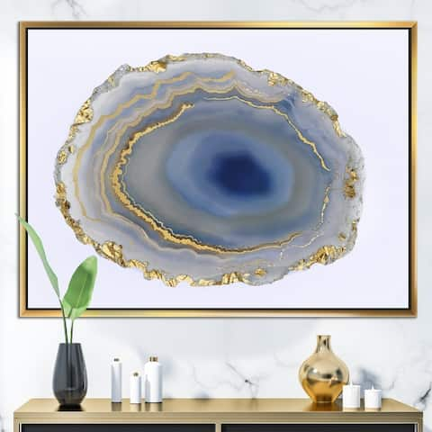 Designart 'Golden Water Agate' Fashion Framed Canvas Wall Art