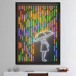 Designart 'Girl In Neon Rainbow Raindrops' Modern & Contemporary Framed Canvas Artwork