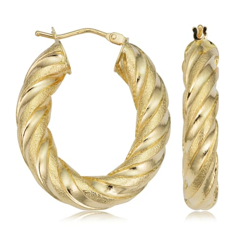 18k Yellow Gold 5mm Thick Twist Polished Satin Oval Hoop Earrings