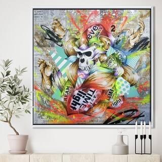 Designart 'Chimanzee Colorfull Skull Collage' Modern & Contemporary Framed Canvas Artwork