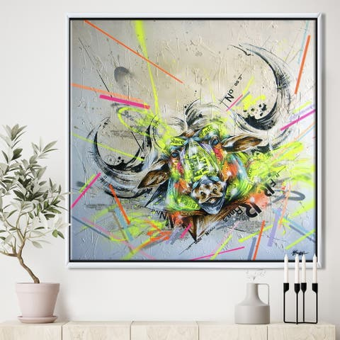 Designart 'Fluo Water Buffalo Street Art' Modern & Contemporary Framed Canvas Art Print