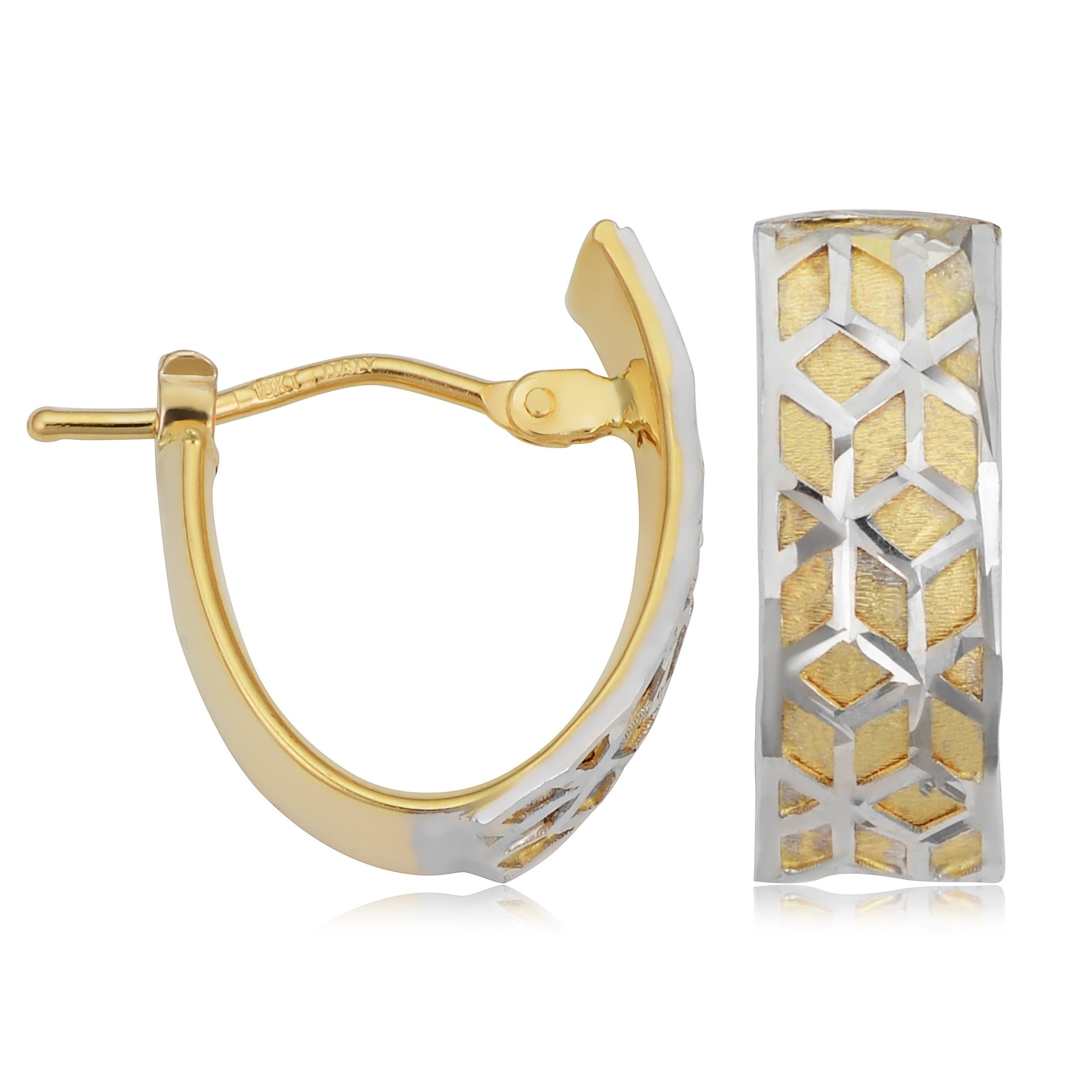 14K Two-tone Polished and Diamond-cut Post Earring