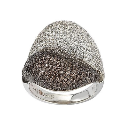 Suzy L. Sterling Silver Brown Cubic Zirconia Micro Pave Ring