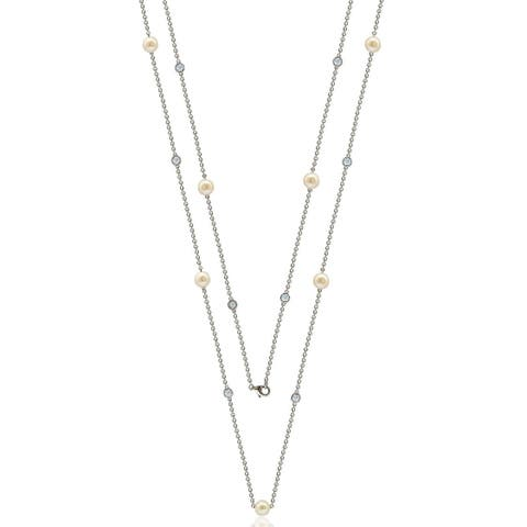 """Suzy Levian Sterling Silver White Sapphire and Pearl By-the-Yard 46"""" Station Necklace"""