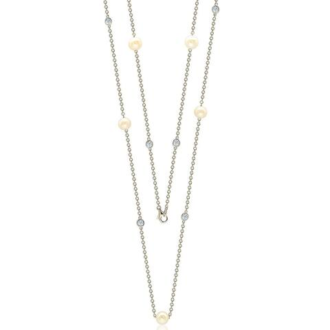 """Suzy Levian Sterling Silver White Sapphire and Pearl By-the-Yard 26"""" Station Necklace"""