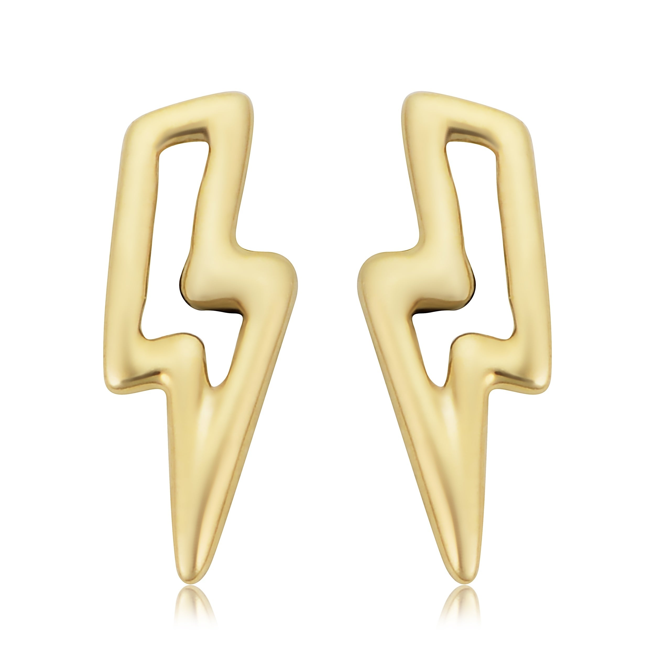 Shop 14k Yellow Gold Lightning Bolt Stud Earrings Overstock 28806885