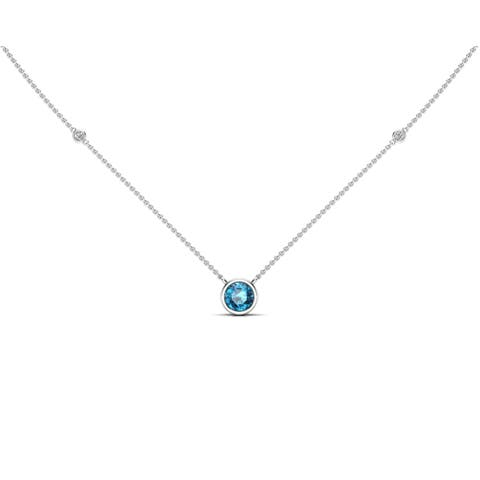 """Noray Designs 14K Gold London Blue Topaz (6 MM) & White Diamond Accent (0.06 Ct, G-H Color, SI2-I1 Clarity) Necklace, 16""""-18"""""""