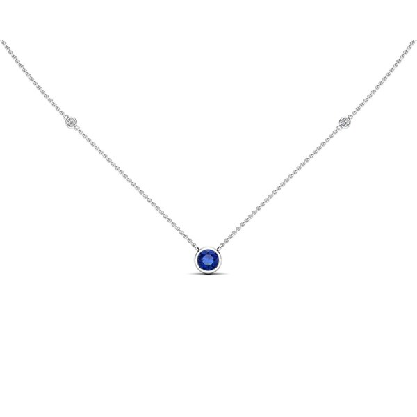 """Noray Designs 14K Gold Blue Sapphire (5 MM) & Diamond Accent (0.06 Ct, G-H Color, SI2-I1 Clarity) Necklace, 16""""-18"""""""