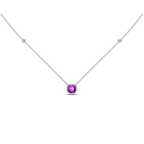 """Noray Designs 14K Gold Amethyst (6 MM) & White Diamond Accent (0.06 Ct, G-H Color, SI2-I1 Clarity) Necklace, 16""""-18"""" - Purple"""