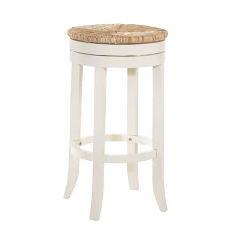The Curated Nomad Aragon Rush Seat Swivel 30-inch Bar Stool - N/A