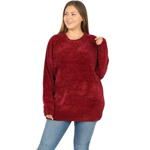 JED Women's Plus Size Loose Fit Plush Chenille Pullover Sweater
