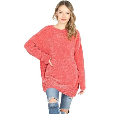 JED Women's Loose Fit Plush Chenille Pullover Sweater
