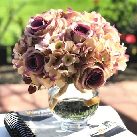 Enova Home Lavender Cream Artificial Rose and Hydrangea Flower Arrangements with Glass Vase For Home Wedding Decoration