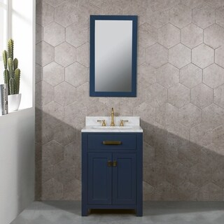 Madison 24-Inch Single Sink Carrara White Marble Vanity In Monarch Blue