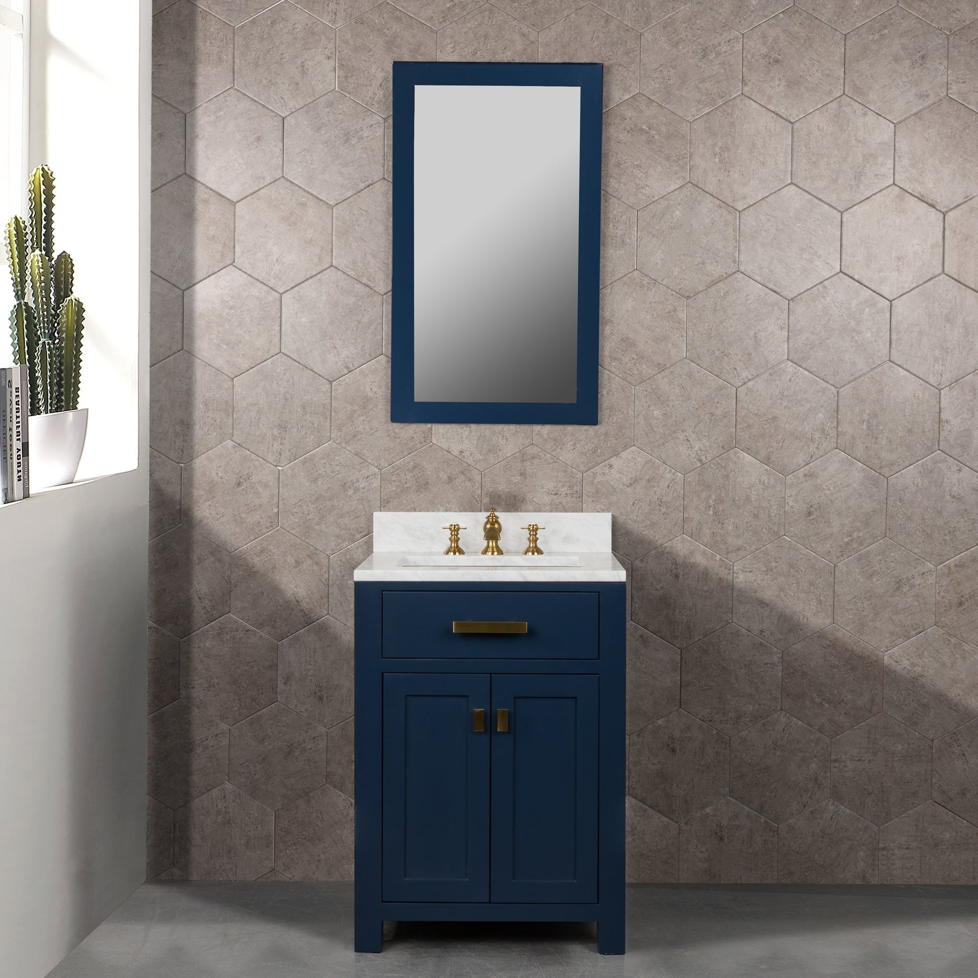 Madison 24 Inch Monarch Blue Single Sink Carrara White Marble Vanity Overstock 28807307