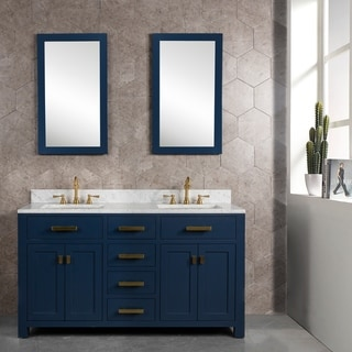 Madison 60-Inch Double Sink Carrara White Marble Vanity In Monarch Blue