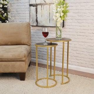 Carson Carrington Passamalen 2-piece Elm/Gold Nesting Table Set