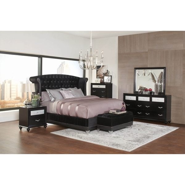 Tamsin Black 3-piece Upholstered Bedroom Set with 2 Nightstands